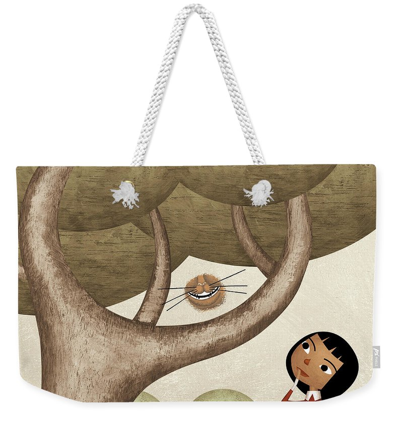 Three Quarter Length Weekender Tote Bag featuring the photograph Girl And The Cats Smile by Carlos Cubeiro