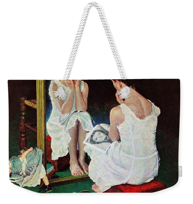 Actresses Weekender Tote Bag featuring the drawing Girl At The Mirror by Norman Rockwell