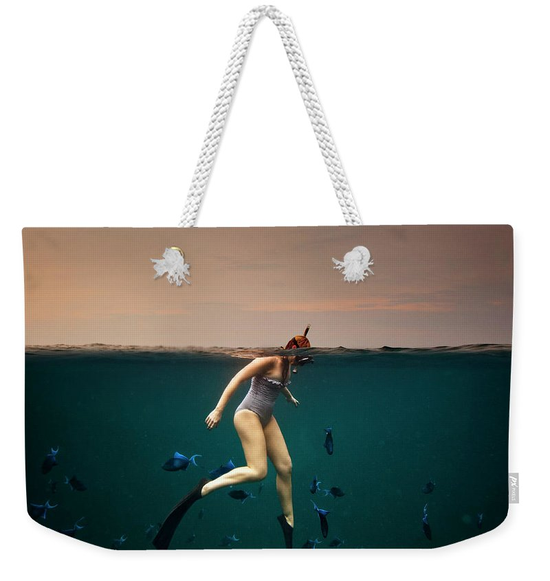 People Weekender Tote Bag featuring the photograph Girl Snorkelling by Rjw