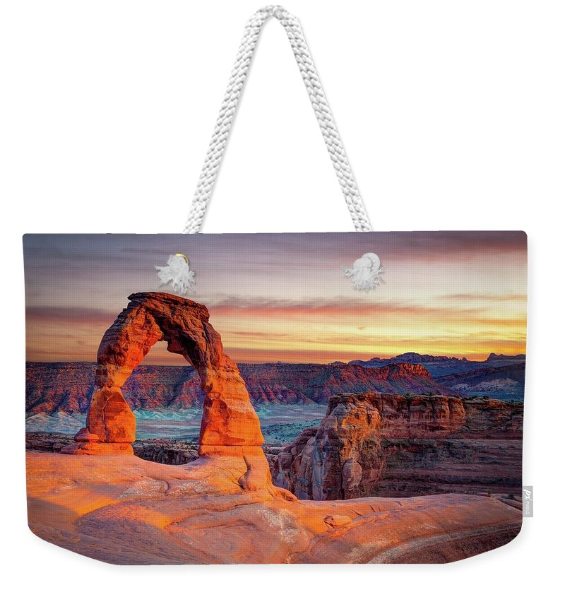 Scenics Weekender Tote Bag featuring the photograph Glowing Arch by Mark Brodkin Photography