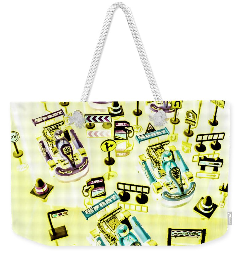 Track Weekender Tote Bag featuring the photograph Go-kart Art by Jorgo Photography - Wall Art Gallery