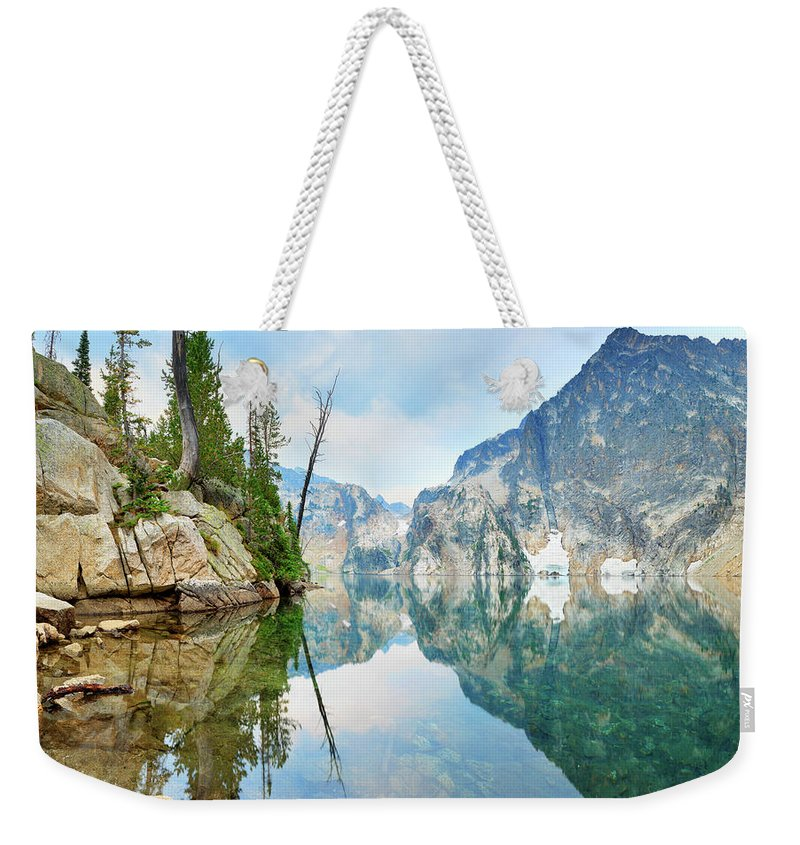 Tranquility Weekender Tote Bag featuring the photograph Goat Lake On Cloudy Day In Sawtooth by Anna Gorin