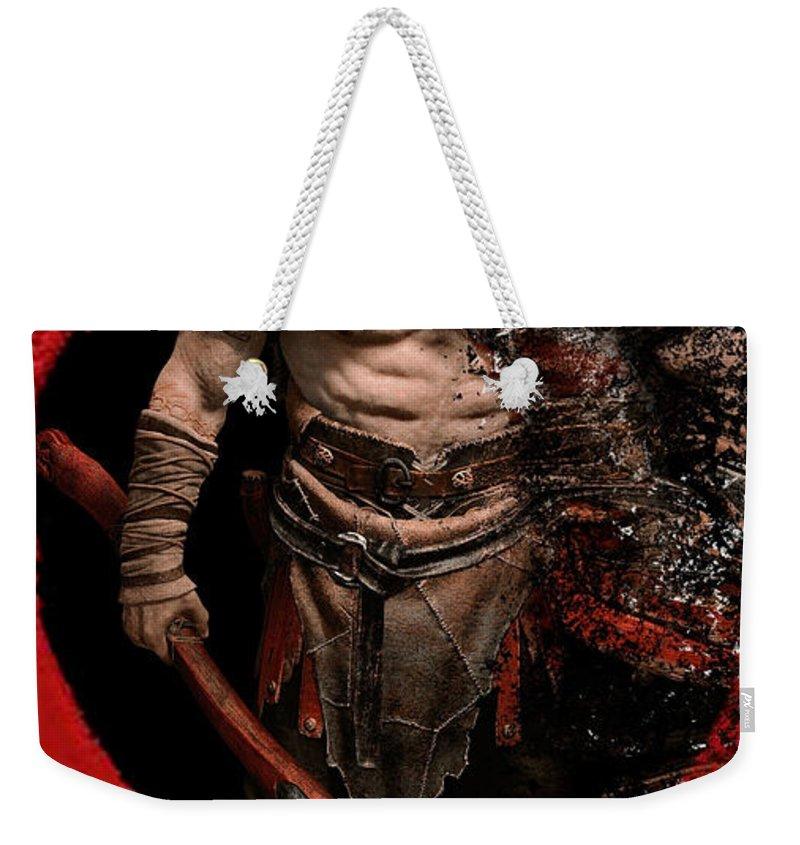 God Of War Weekender Tote Bag featuring the digital art God Of War by Geek N Rock