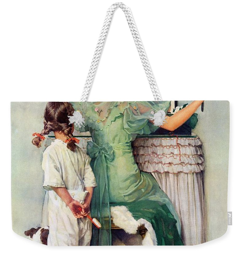 Dressing Tables Weekender Tote Bag featuring the drawing Going Out by Norman Rockwell