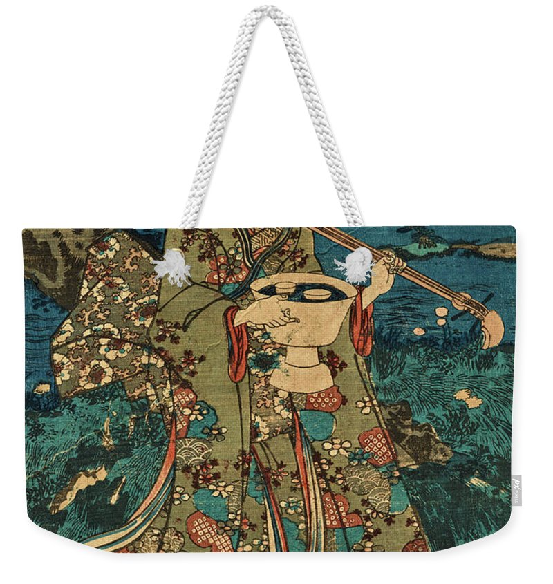 Party Weekender Tote Bag featuring the painting Going To A Cherry Blossom Viewing Party by Utagawa Kunisada