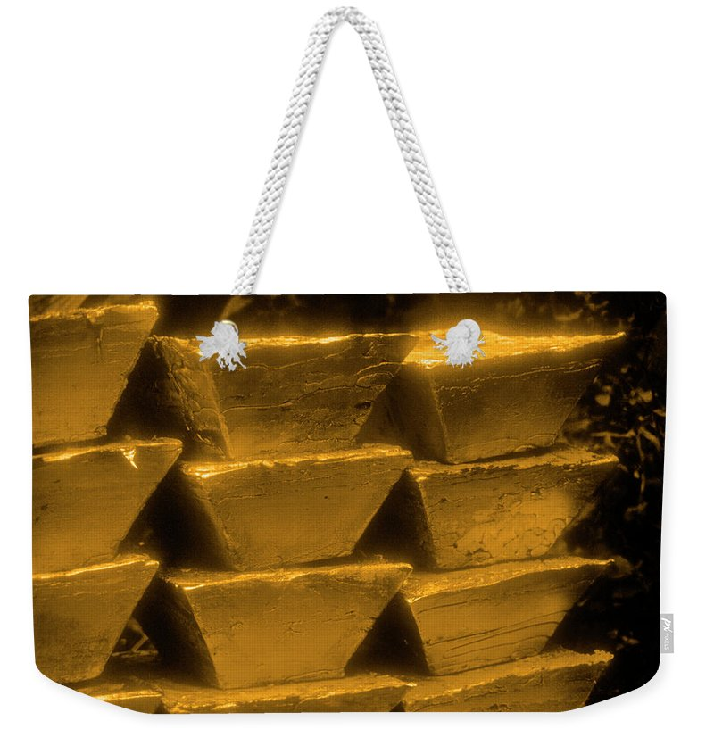 1980-1989 Weekender Tote Bag featuring the photograph Gold Bullion Bars by Lyle Leduc