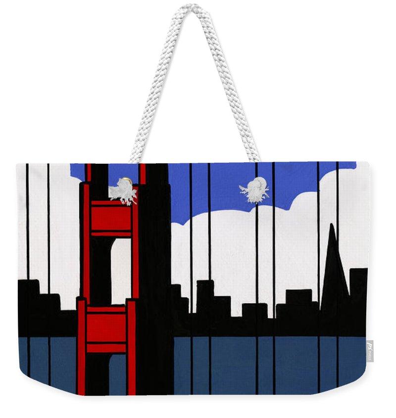 Gouache Weekender Tote Bag featuring the digital art Golden Gate Bridge, San Francisco by Matt Olson