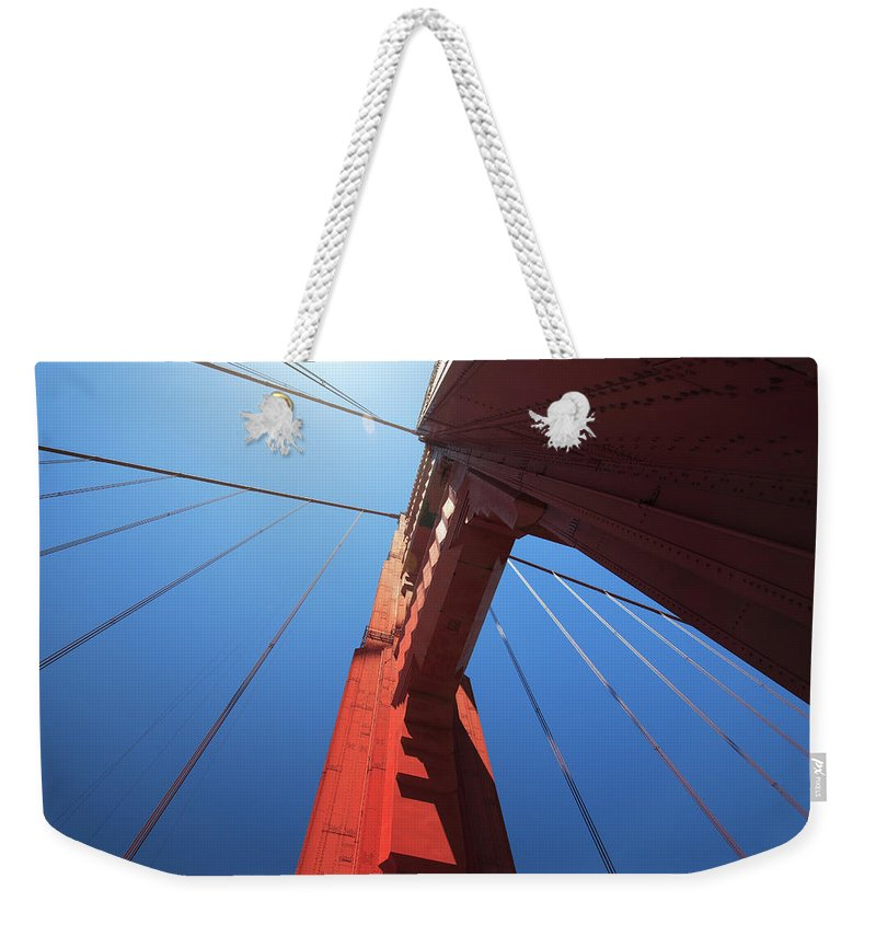 San Francisco Weekender Tote Bag featuring the photograph Golden Gate Bridge Tower by Mortonphotographic
