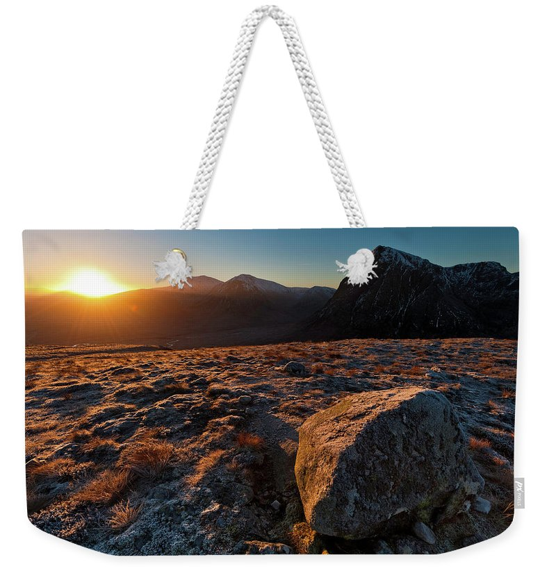 Rannoch Moor Weekender Tote Bag featuring the photograph Golden Highland Dawn Glencoe Mountain by Fotovoyager