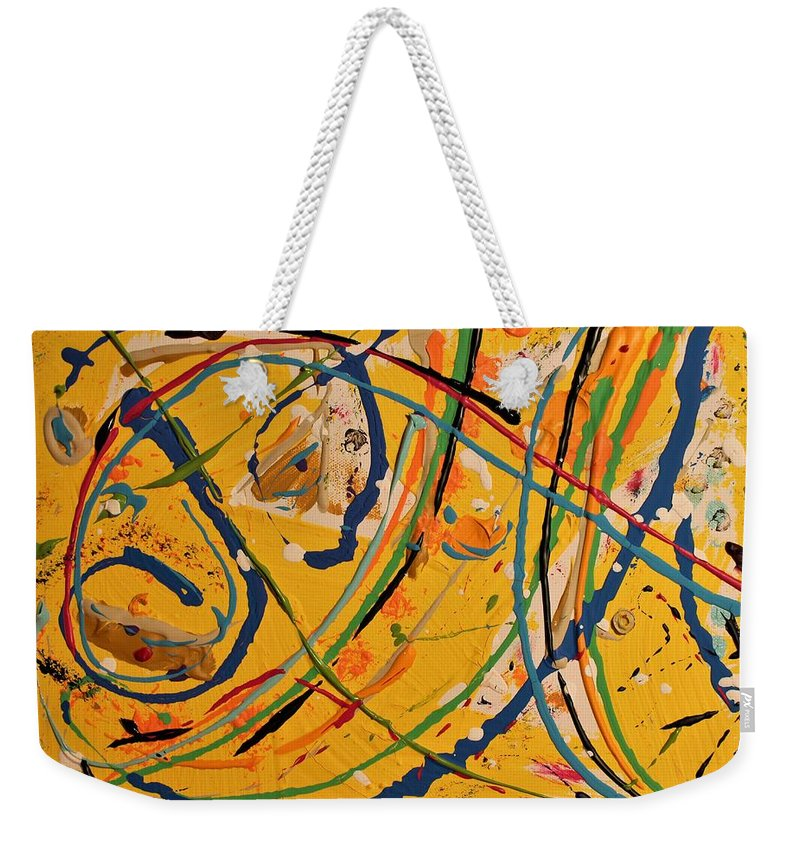 Colorado Weekender Tote Bag featuring the painting Gone Fishing by Pam Roth O'Mara