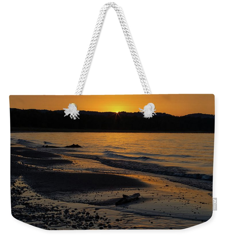Sleeping Weekender Tote Bag featuring the photograph Good Harbor Bay Sunset by Heather Kenward