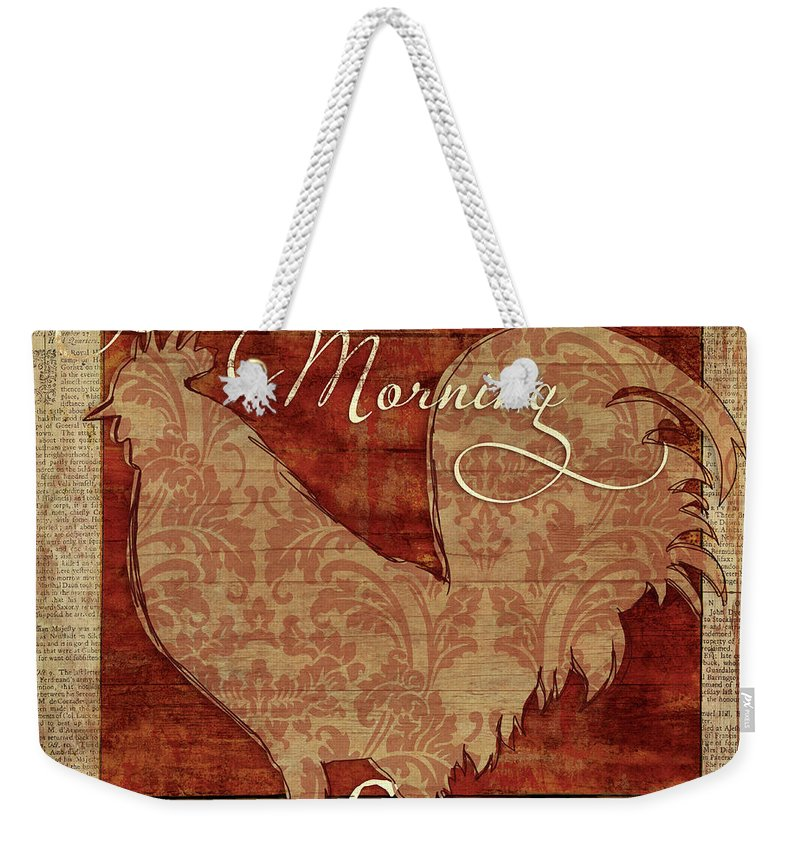 Rooster Weekender Tote Bag featuring the mixed media Good Morning Sunshine by Elizabeth Medley
