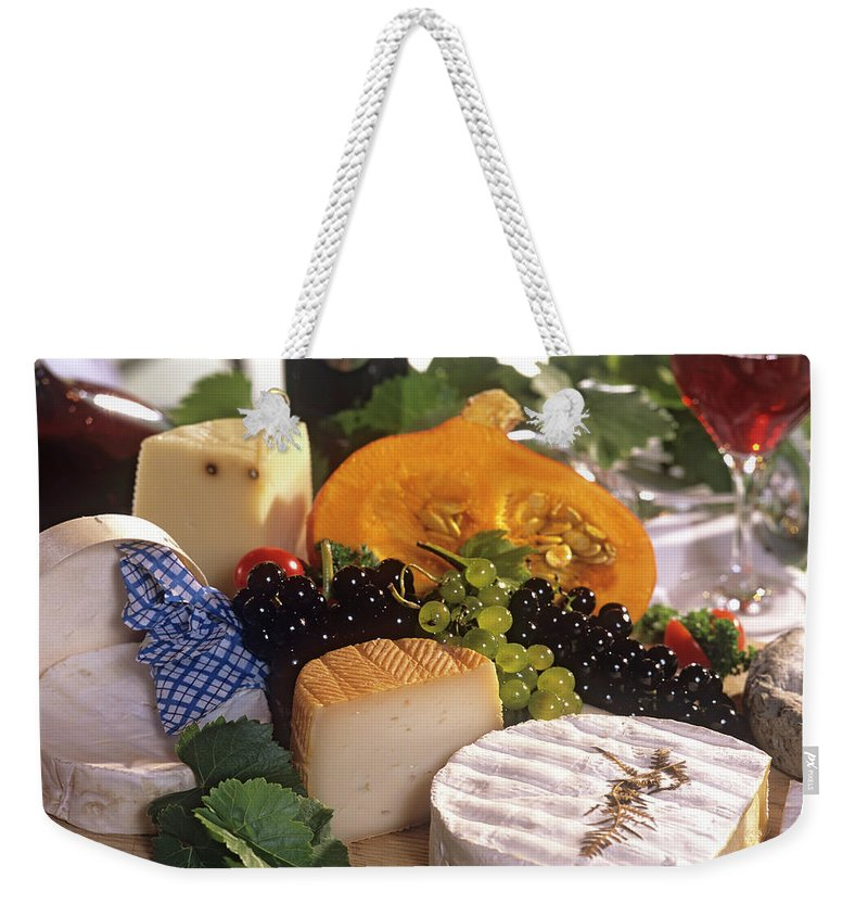 Cheese Weekender Tote Bag featuring the photograph Gourmet Cheese Plate With Red Wine by Clu