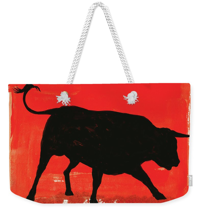 Bull Market Weekender Tote Bag featuring the digital art Graphic Bull Illustration by Don Bishop