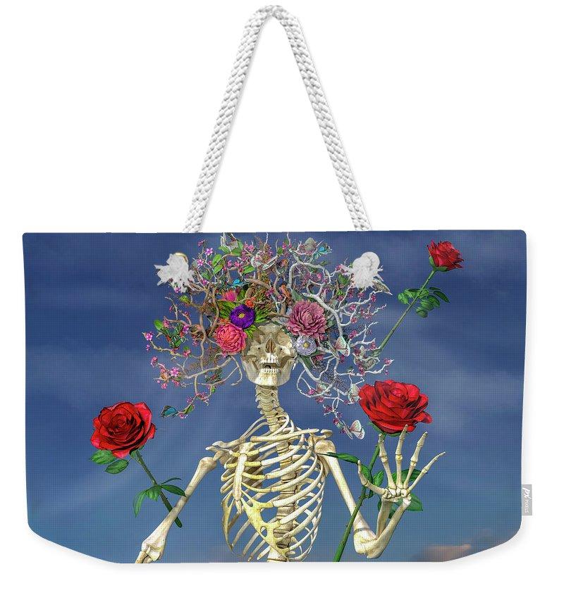 Skeleton Weekender Tote Bag featuring the digital art Grateful Greetings And Good Times by Betsy Knapp