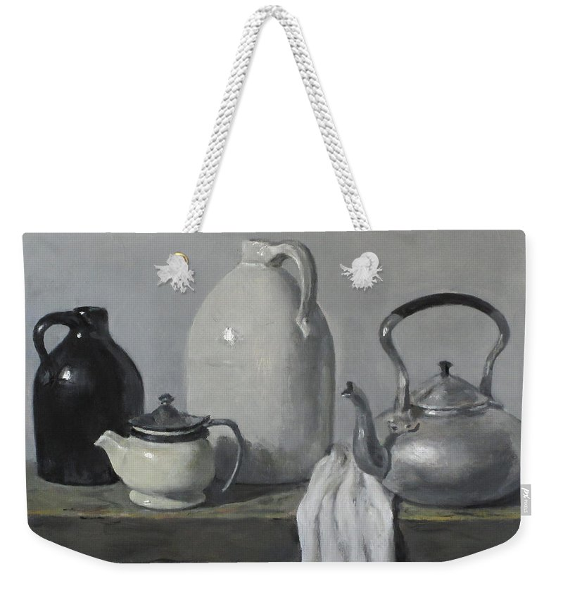 Gray Weekender Tote Bag featuring the painting Gray Matters by Robert Holden