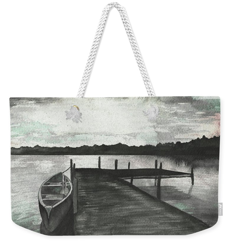 Gray Weekender Tote Bag featuring the mixed media Gray Morning On The Lake by Elizabeth Medley
