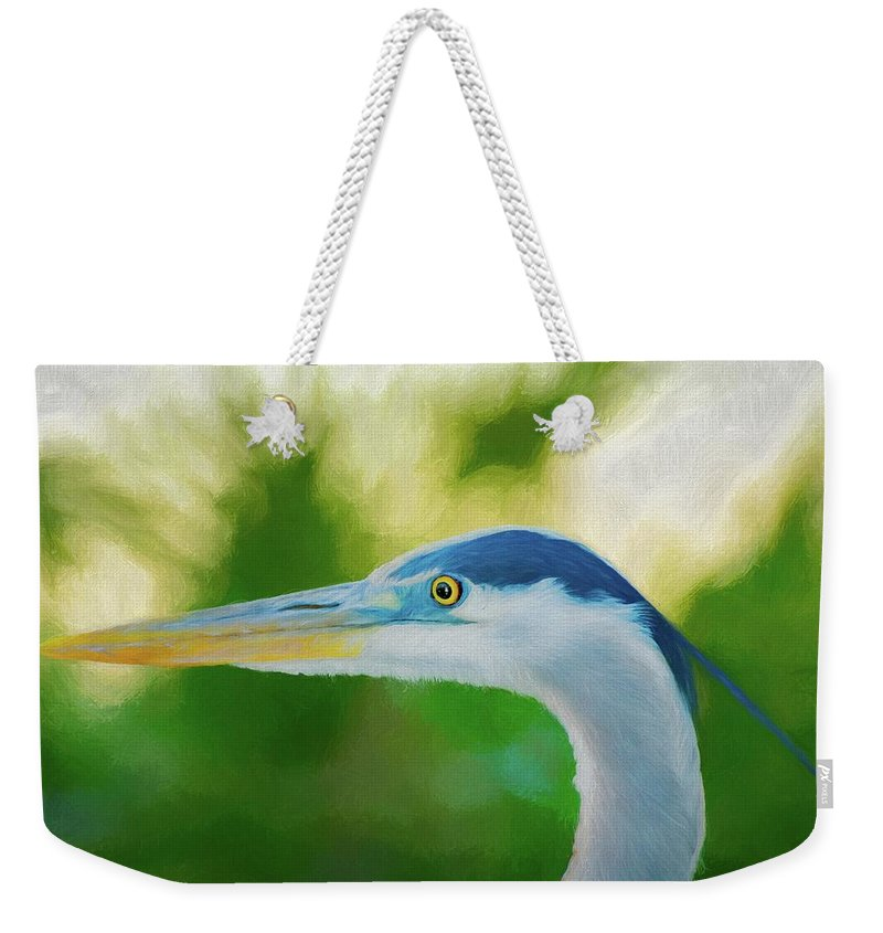 Blue Weekender Tote Bag featuring the digital art Great Blue by Michael Campbell