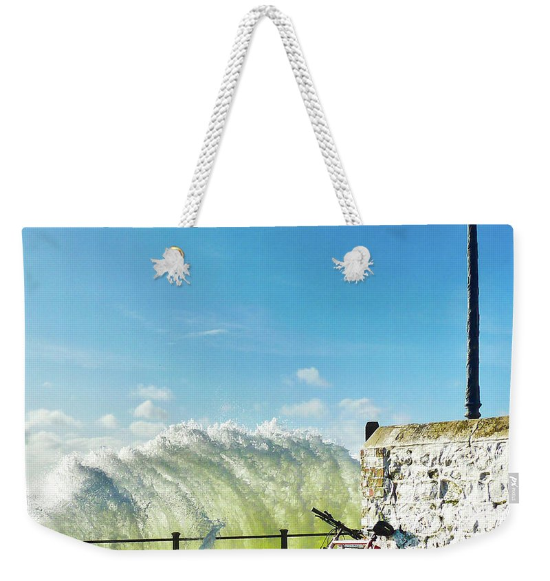 Leaning Weekender Tote Bag featuring the photograph Great Place To Leave Your Bike by Copyright Ian Pacey