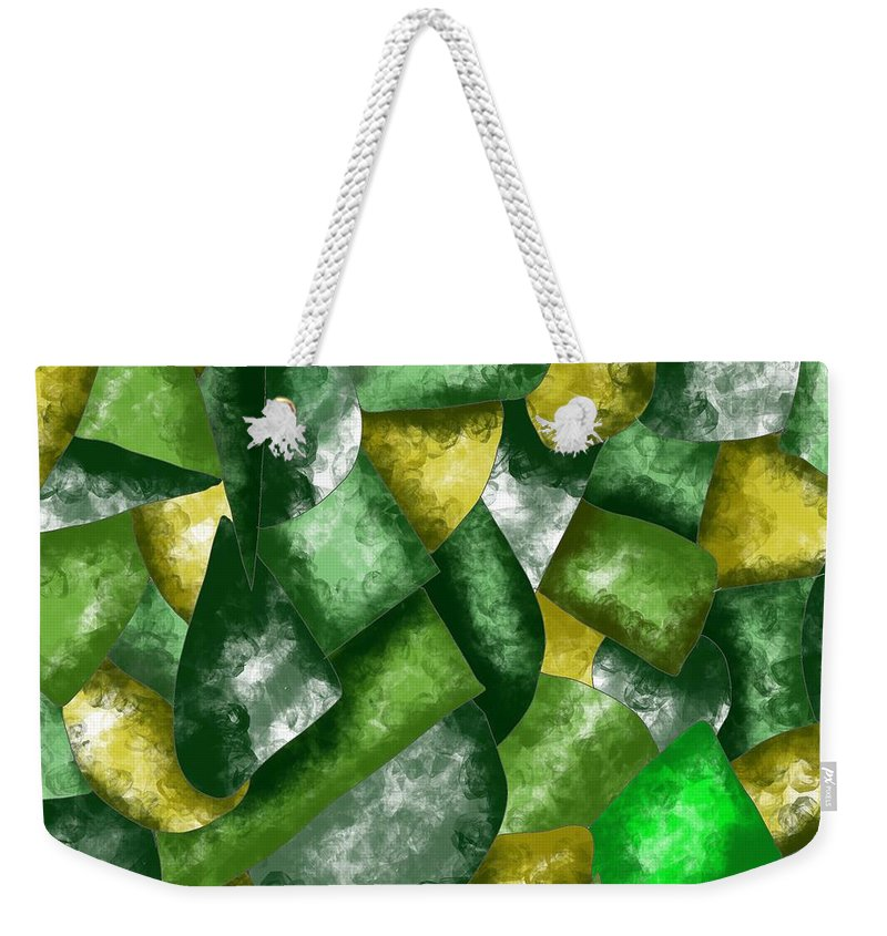 Green Weekender Tote Bag featuring the painting Green Abstraction by Patricia Piotrak