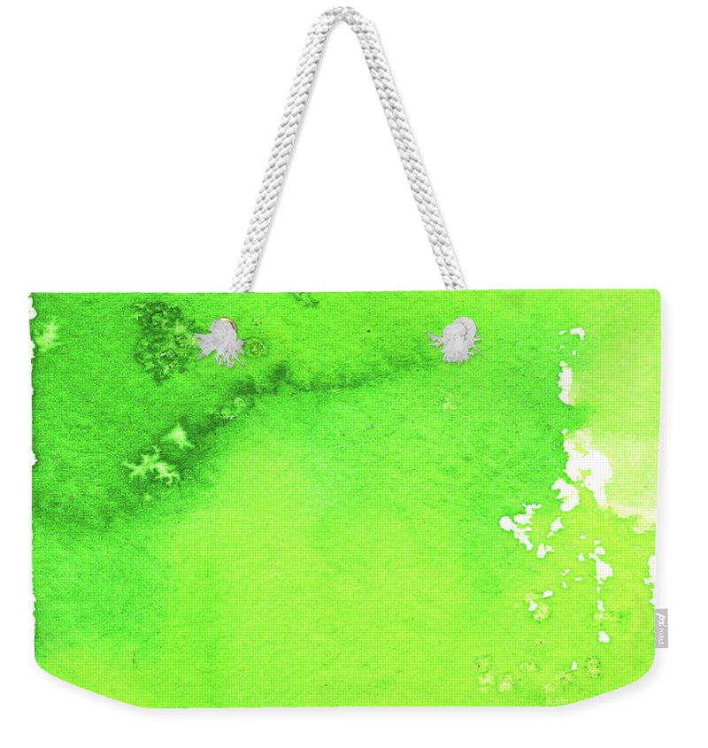 Watercolor Painting Weekender Tote Bag featuring the digital art Green Background Spring Blend by Taice