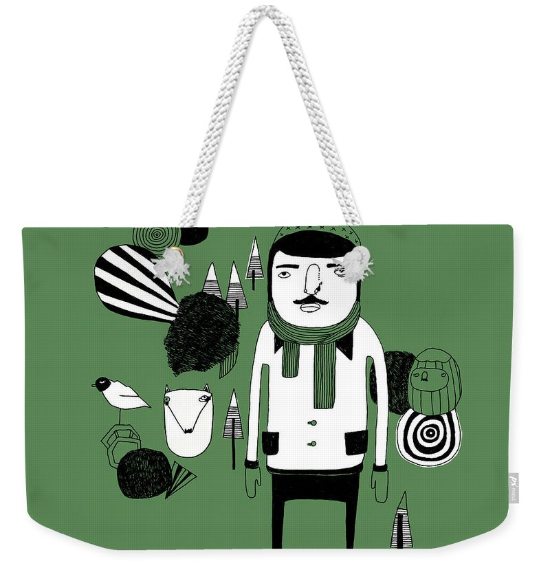 People Weekender Tote Bag featuring the digital art Green Forest by Stine Kaasa Illustration