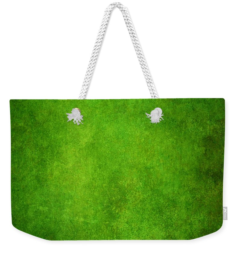 Stained Weekender Tote Bag featuring the photograph Green Grunge Background by Mammuth