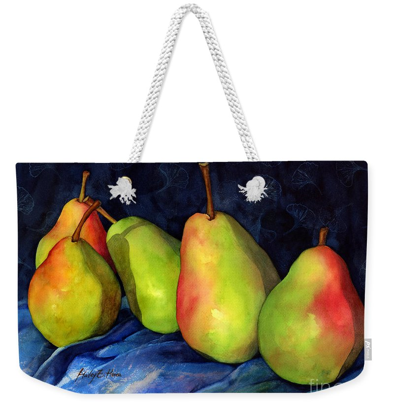 Pear Weekender Tote Bag featuring the painting Green Pears by Hailey E Herrera