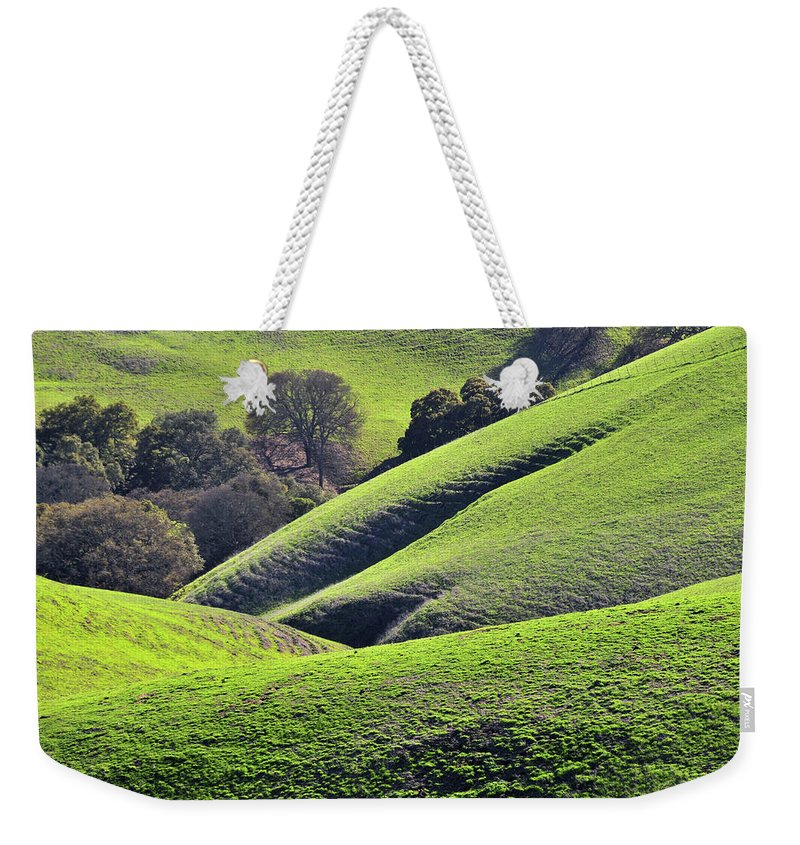 Scenics Weekender Tote Bag featuring the photograph Green Rolling Hills Of Central by Mitch Diamond