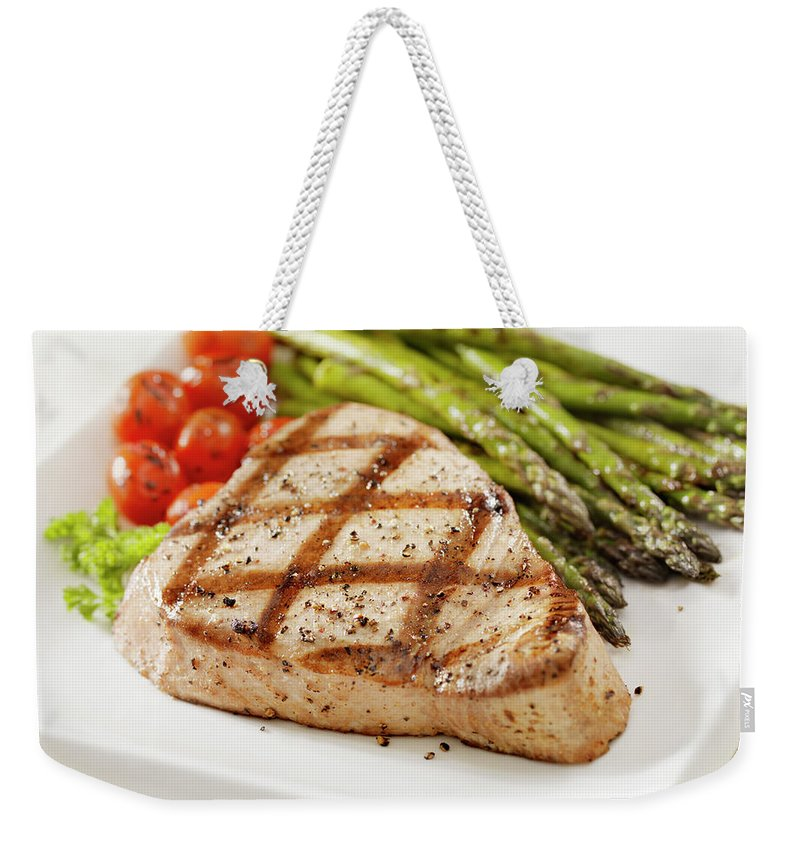 Roast Dinner Weekender Tote Bag featuring the photograph Grilled Ahi Tuna Steak by Lauripatterson