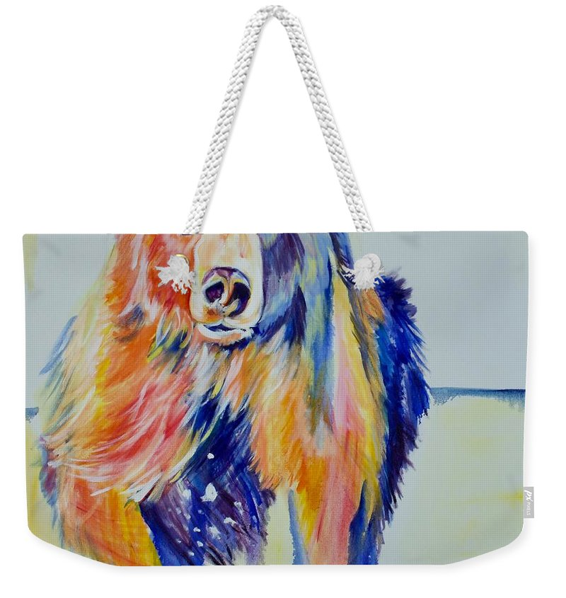 Original Weekender Tote Bag featuring the painting Grizzly Sprint by Nickie Perrin Paintings