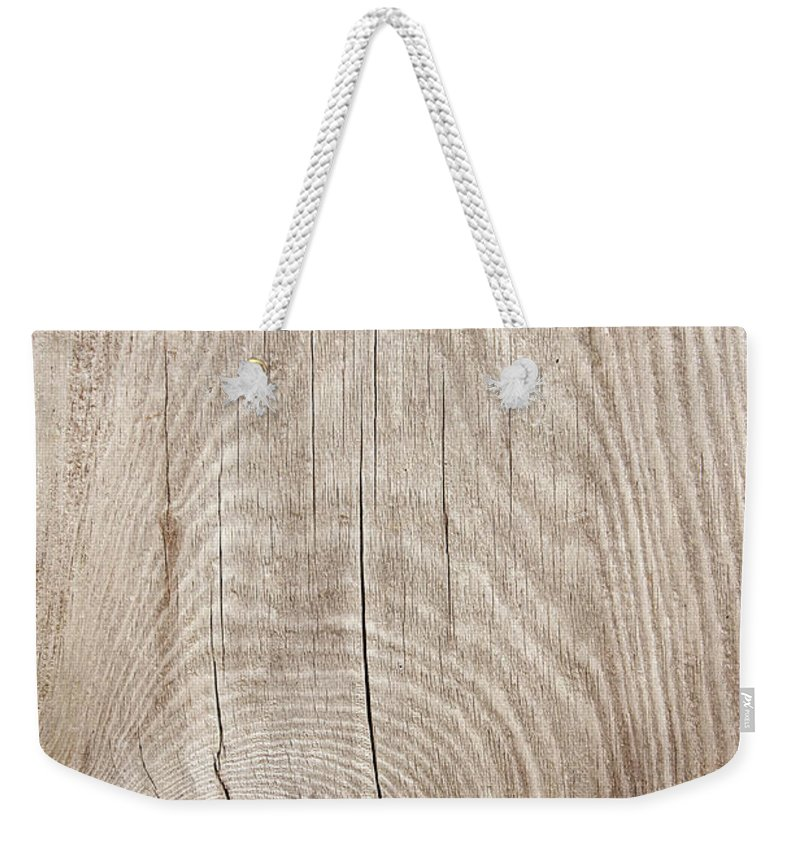 Material Weekender Tote Bag featuring the photograph Grunge Wood Textured Background With by Hudiemm