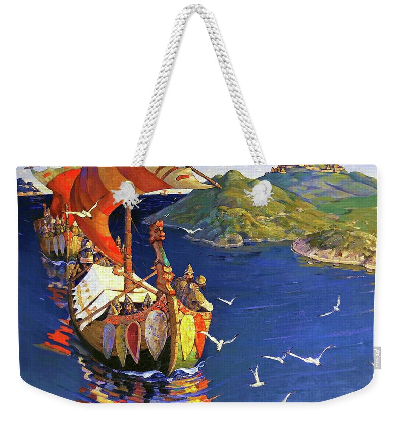 Nicholas Roerich Weekender Tote Bag featuring the painting Guests From Overseas - Digital Remastered Edition by Nicholas Roerich