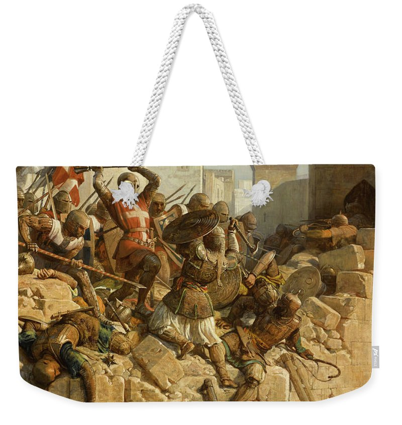 Papety Weekender Tote Bag featuring the painting Guillaume De Clermont Defend La Ville D'acre, 1291 by Dominique Louis Fereol Papety