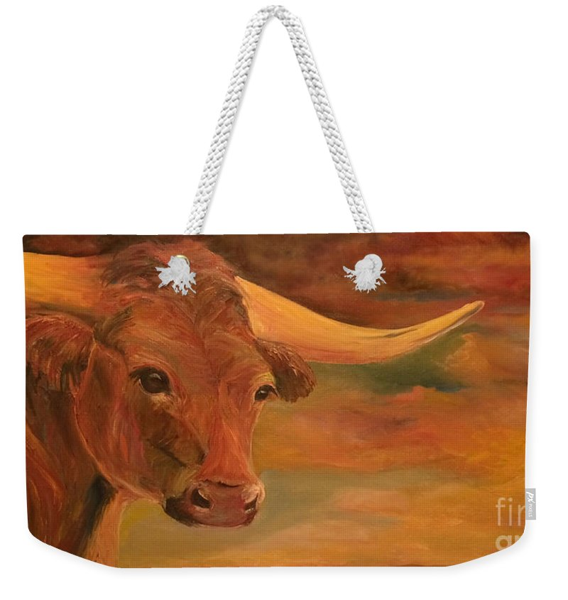 Texas Longhorn Weekender Tote Bag featuring the painting Guinevere by Donna Hall