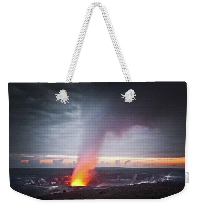Hawaii Volcanoes National Park Weekender Tote Bag featuring the photograph Halemaumau Crater by Darren Woolridge Photography - Www.darrenwoolridge.com