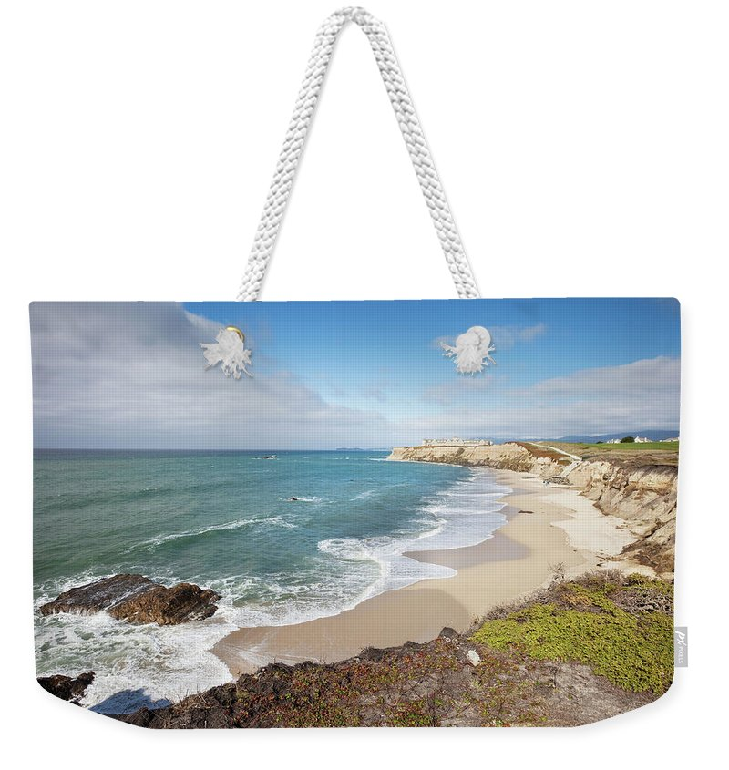 Water's Edge Weekender Tote Bag featuring the photograph Half Moon Bay California by Stevegeer