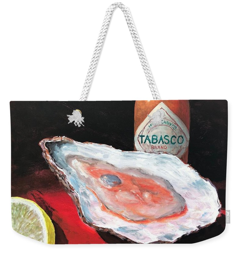 Oyster Weekender Tote Bag featuring the painting Half Shell by Paul Emig