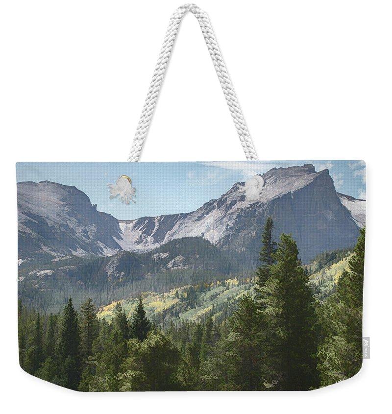 Hallett Peak Weekender Tote Bag featuring the photograph Hallett Peak Colorado by Mike Braun