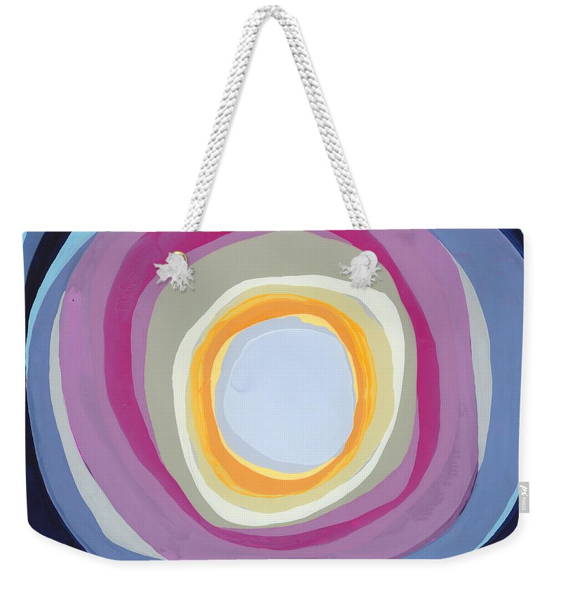 Abstract Weekender Tote Bag featuring the painting Hang Cool by Claire Desjardins