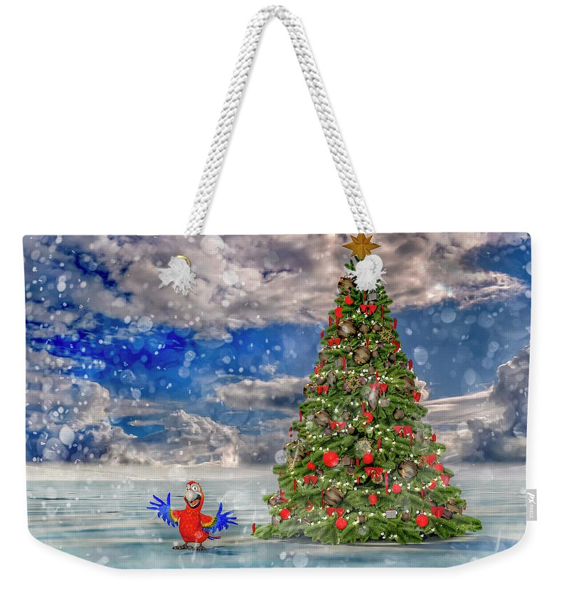 Parrot Weekender Tote Bag featuring the digital art Happy Christmas Parrot by Betsy Knapp