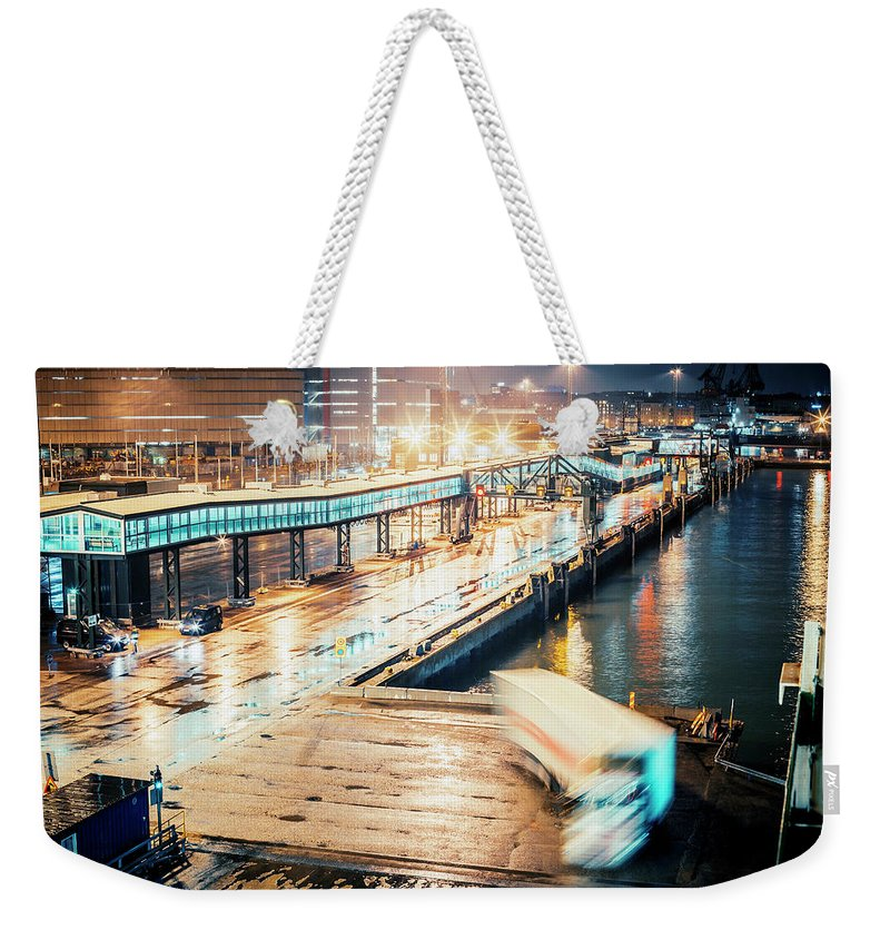 Industrial District Weekender Tote Bag featuring the photograph Harbor Area by Peeterv
