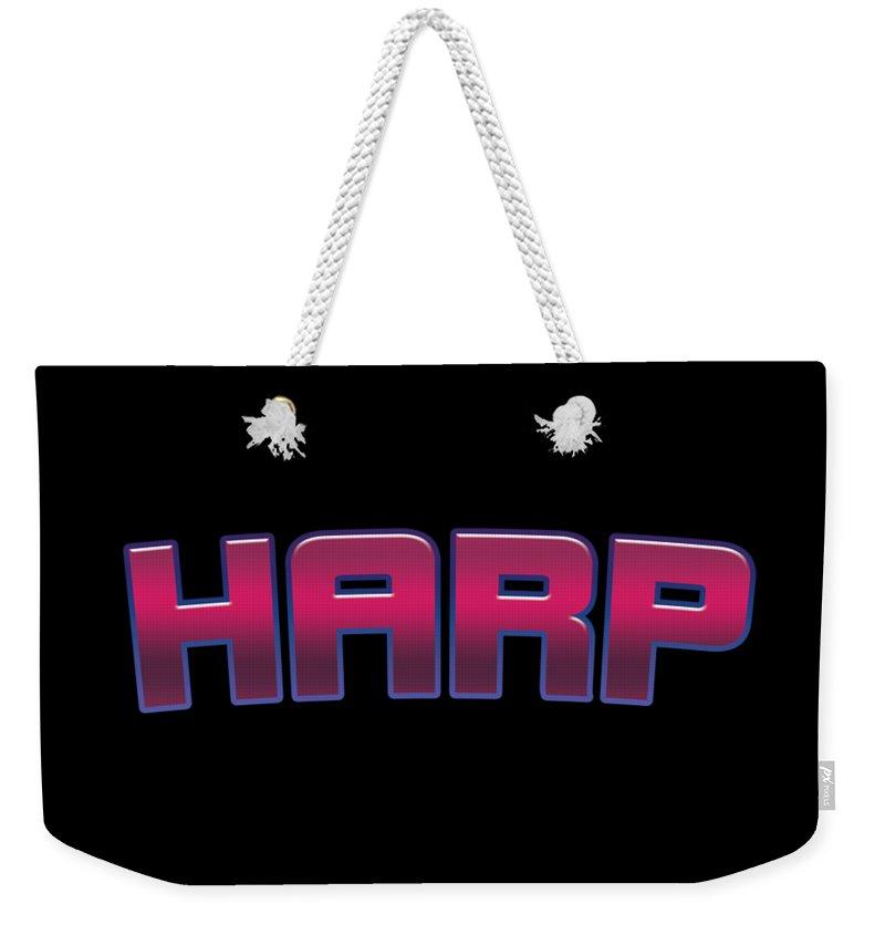 Harp Weekender Tote Bag featuring the digital art Harp #harp by TintoDesigns