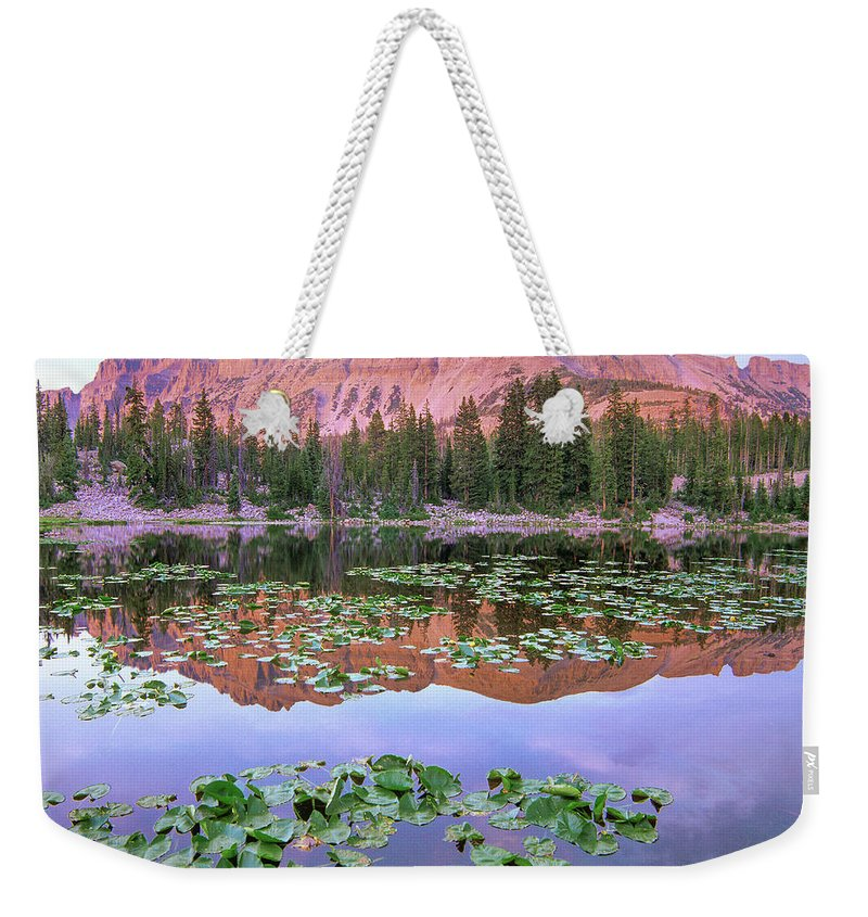 00586220 Weekender Tote Bag featuring the photograph Hayden Peak And Butterfly Lake, Uinta by
