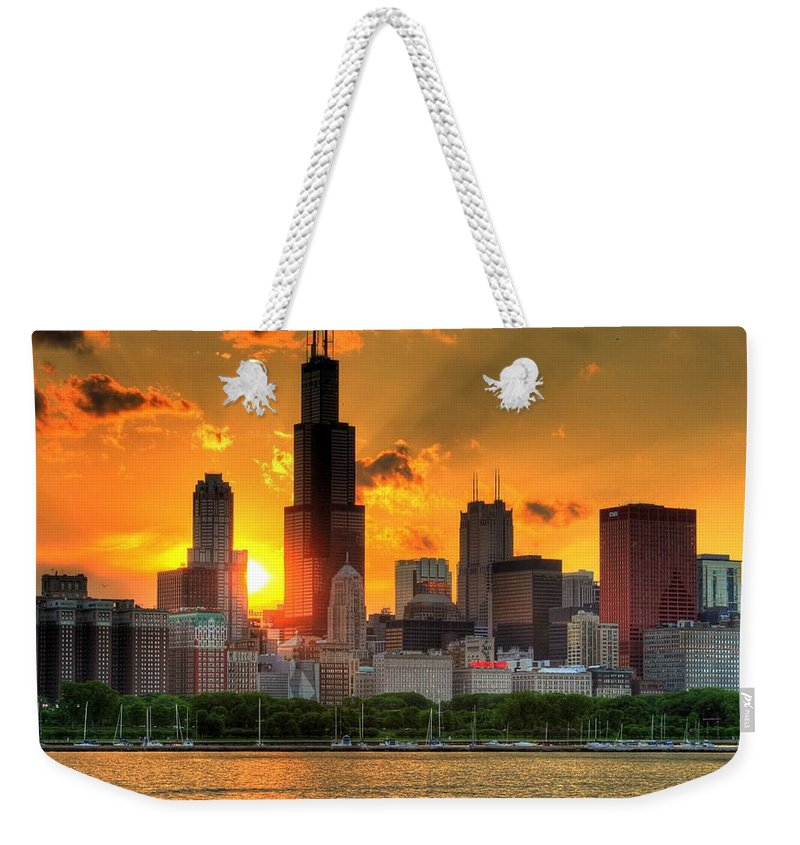 Tranquility Weekender Tote Bag featuring the photograph Hdr Chicago Skyline Sunset by Jeffrey Barry