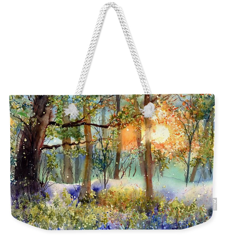 Wild Weekender Tote Bag featuring the painting Heathers In Gold by Suzann Sines