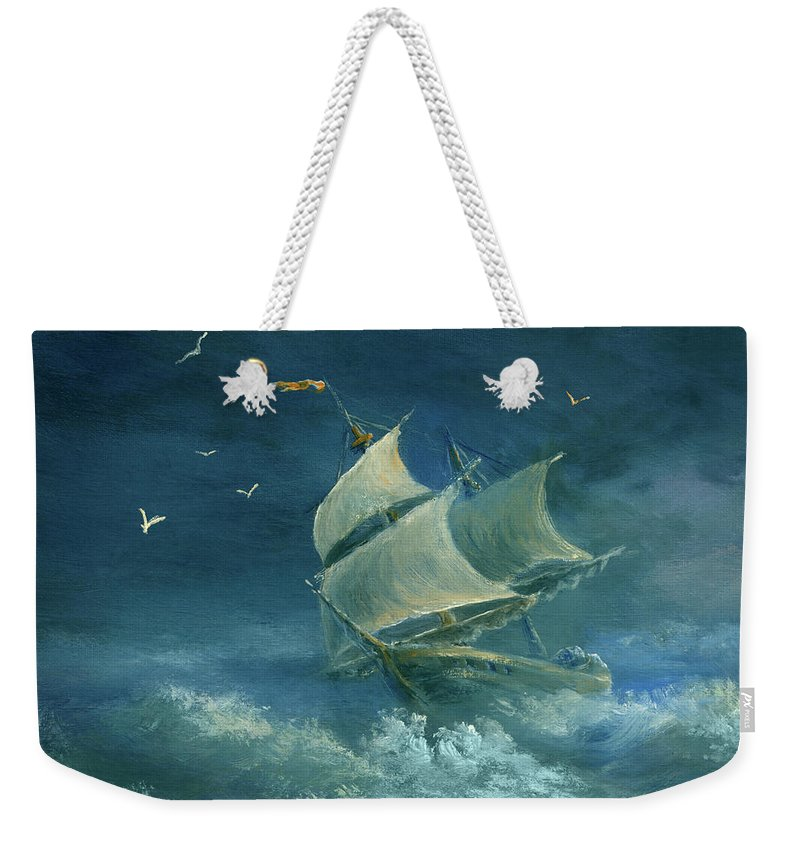 Image Weekender Tote Bag featuring the digital art Heavy Gale by Pobytov