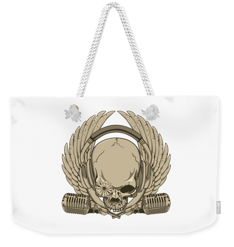 Goth Weekender Tote Bag featuring the digital art Heavy Metal Skull by Passion Loft