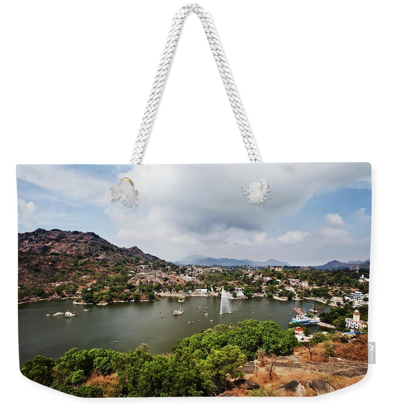 Tranquility Weekender Tote Bag featuring the photograph High Angle View Of Fountain In Nakki by Uniquely India