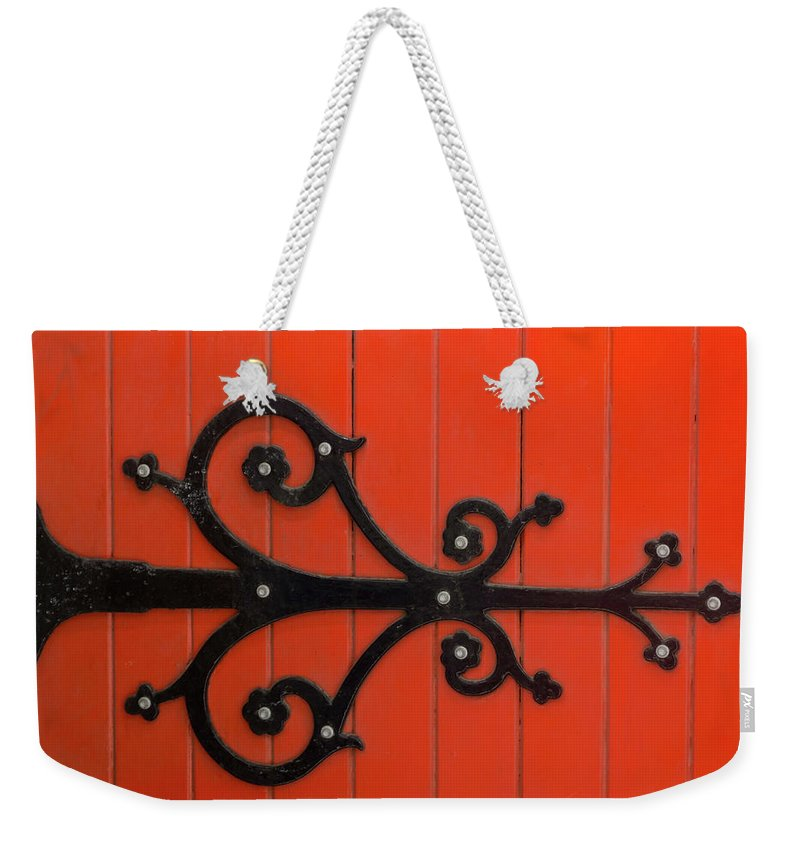 Orange Color Weekender Tote Bag featuring the photograph Hinge by Jill Ferry Photography